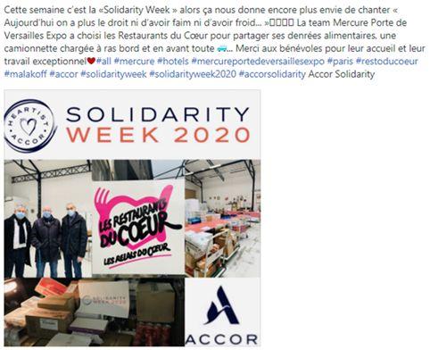 Solidarity week : L'Hôtel Mercure Porte de Versailles Paris Expo partage ses denrées alimentaires